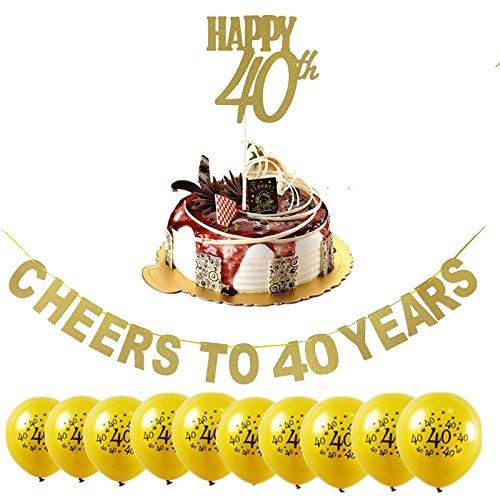 Losuya 40. Geburtstag Party Dekoration Kit - Cheers zu 40 Jahre Banner Golden Glitter Bunting und Happy 40. Cake Topper mit 10er Party Ballons für Geburtstag Party Favor Supplies