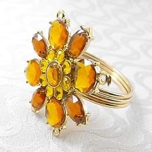X7 cristallo argento anello di oro del fiore tovagliolo, beades acrilico, 4,5 centimetri, set di 12 , Silvery
