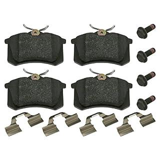 febi bilstein 16052 Bremsbelagsatz mit Anbaumaterial (hinten, 4 Bremsbeläge), ohne Verschleißwarnkontakt