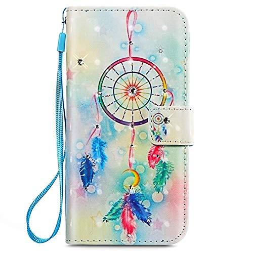 Surakey kompatibel mit Samsung Galaxy X Cover4 Hülle 3D Muster Kristall Glitzer Bling PU Leder Tasche Flip Hülle Ledertasche Wallet Brieftasche Schutzhülle Handytasche,Blau Feder Traumfänger