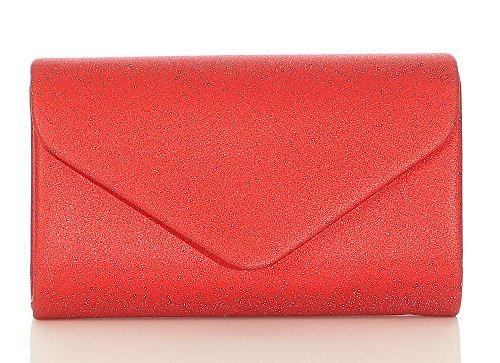 malito Damen Clutch | Abendtasche mit Kette | Unterarmtasche | Handtasche - Citybag - Tasche T400 (rot)
