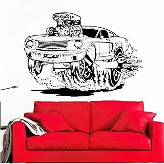 Laufendes Auto Wandaufkleber Tapeten für Mann Wohnzimmer Schlafzimmer Wandkunst Aufkleber selbst adesiv für Raumdekoration PVC 58cmX82cm