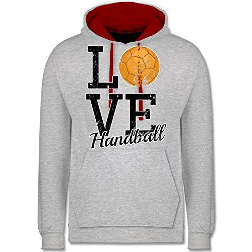 Handball - Love Handball - Kontrast Hoodie Grau Meliert/Rot