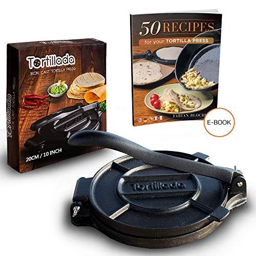 Tortillada - Premium Tortillapresse aus Gusseisen mit Rezepten (20cm) + E-Book mit 50 Tortilla Rezepten