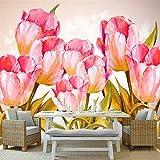 YUANLINGWEI Mural Tapete Benutzerdefinierte Moderne 3D Hochwertige Vliestapete 3D Tulip Floral Pflanze Hintergrundbild Für Küche,230Cm (H) X 310Cm (W)