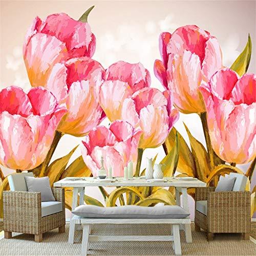 Yuanlingwei murale carta da parati personalizzata moderno 3d murale carta da parati tulipano pianta floreale modello sfondo per la cucina,170cm (h) x 250cm (w)