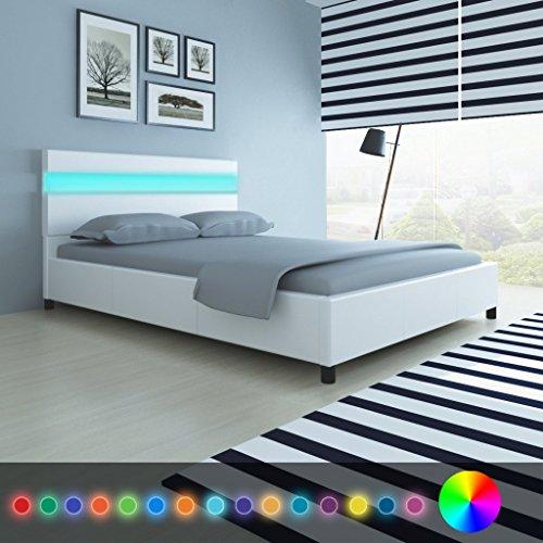 Anself Doppelbett Bett Ehebett Gästebett mit LED-Licht 140x200cm ohne Matratze Weiß