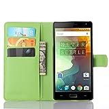 Tasche für OnePlus Two Hülle, Ycloud PU Ledertasche Flip Cover Wallet Case Handyhülle mit Stand Function Credit Card Slots Bookstyle Purse Design grün