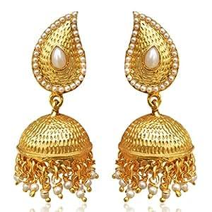 Tear Drop Mango Jhumka Jhumki South Indian Golden Earrings SAEA0877WH
