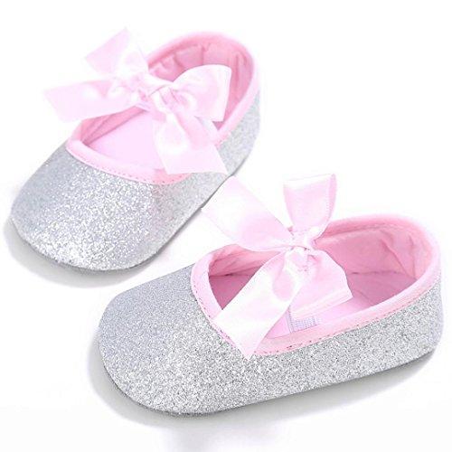 Culater® Ragazza del bambino Presepe dell'arco del fiore morbida suola antiscivolo Scarpe Sneakers Argento