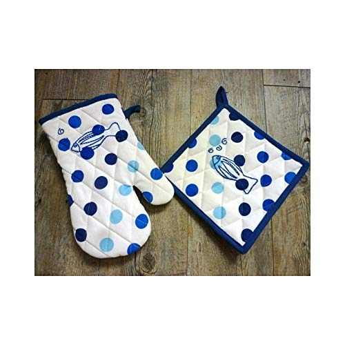 ATELIERDELADECO Gant et Manique à Pois Bleu avec Motif Poisson brodé - Bleu