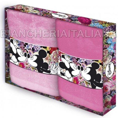 Disney Caleffi SET 2 Asciugamani Viso MINNIE LOVE Mis.40x80 100% Cotone