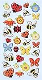 CREApop® Softy-Stickers Lustige Marienkäfer/Biene/Schmetterling