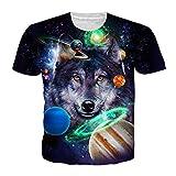 EUR TamañO 3D Camiseta De Lobo Verano Hombres Mujeres ImpresióN Galaxy Camisetas De Hip Hop...