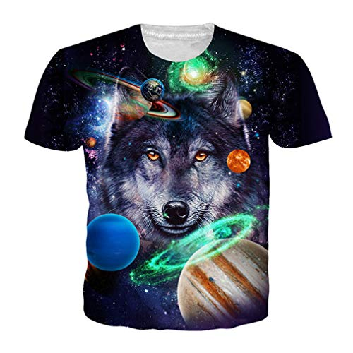 EUR Größe 3D Wolf T-Shirt Sommer Männer Frauen Galaxy Print Hip Hop T-Shirts Homme Streetwear Weibliche Tops BB10693 XXL