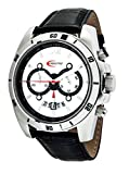 Creactive - CA120113 - Montre Homme Sportive Chronographe - Mouvement Quartz - Affichage Analogique - Cadran Blanc - Bracelet Cuir Noir
