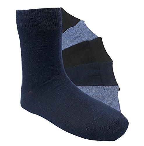 6 Paar Jungen Socken Kinder Strümpfe handgekettelt Spitze ohne Naht Baumwollsocken Uni Gr. 31-34 (JU 31-34)
