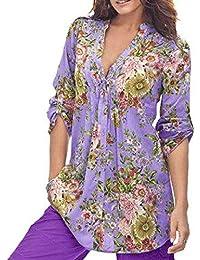 Gusspower Manga Corta, Camisa Estampada con Cuello en V para Mujer Impresión de Flores Tallas Grandes Elegante y Moda Camisas Ropa Blusa…