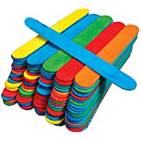 Kids B Crafty 50 Jumbo Wooden Craft Lollipop Sticks Colours Mixed 150mm X 19mm Giant Lolly Sticks - Bright Coloured - Primary School Supplies - Garden Plant Identifier