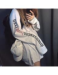 Amantes de Las Ventas de Las Mujeres de Oto?o 's Letras Individuales Ultra Largos Amantes de Suéter de Camiseta,Blanco,XL