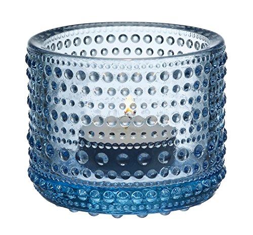 Iittala Kastehelmi - Windlicht/Teelichthalter/Stimmungslicht - Glas - aqua/blau - Höhe 6,4 cm - Blaue Gläser