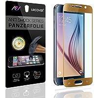 URCOVER® Nano Glass 9H | Pellicola Protettiva Display Samsung Galaxy S6 | Vetro Temperato con Cornice Champagne | Proteggi Schermo Antishock Resistente Protezione Antigraffio Perfect Touch Reactivity