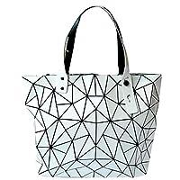Jeune Lueur Geometric Shoulder Tote Purse Ladies Glossy Prism Rhombus Pattern Shoulder Bags Top Handle Bags