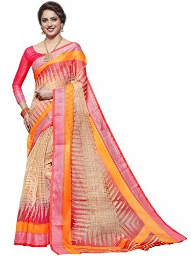 Miraan Women's Organza Saree With Blouse Piece (Srh19_Pink)