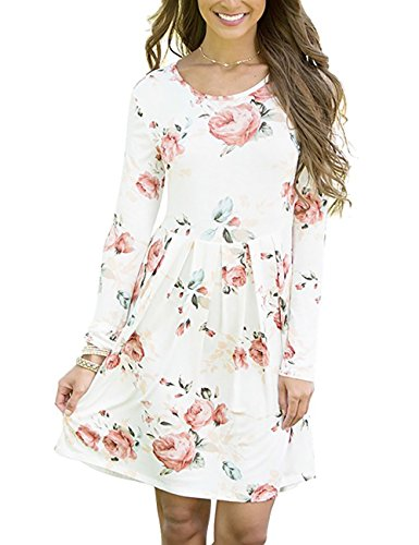Vruan Frauen Casual Kleid Blumendruck Langarm A-Linie Kleider 4 Farbe Größe 6-12 (Plus Size Kostüme Frau)