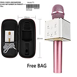 Wireless Q7 Portable Microphone Karaoke Vocal Microphone for Singing, Interviews or Podcasts - Features Built-In Bluetooth Speaker and Tuning Buttons-Audio and USB Cables Included Apple and Android