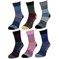 6 oder 12 Paar Damensocken Baumwolle Ringel Damen Socken Geringelt - E-808 - sockenkauf24