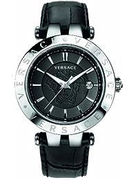 Versace 23Q99D008 S009 - Reloj analógico de cuarzo unisex con correa de piel, color negro