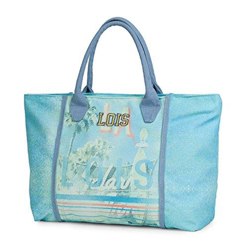 Lois - 09605 Bolso capazo con Asas de Lona Estampada. Cierre con Cremallera. Interior Forrado y Bolsillo Interior. para Playa o Compra, Color Azul