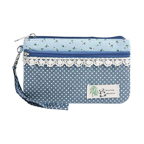 Damara Damen Süß Gepunkt Multifunktional Tuch Geldbörse Mit Spitze Borte,Blau