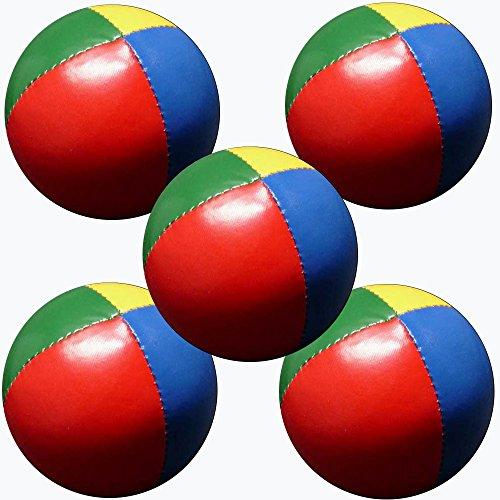 Set 5 Jonglierbälle 57mm 70g pro Stück (4 Farben) Rot Grün Yellow & Blue