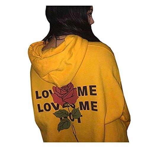 FORH Young Damen super cooler Hoodie Zurück Printed Blumenmuster Letter mit rose Modisch Slim Mantel Tops (L, Gelb)