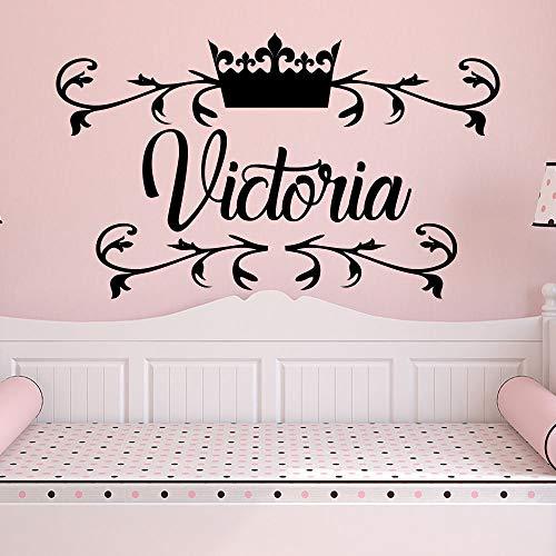 yaoxingfu Rustikale Name Wandtattoo Abnehmbare Vinyl Prinzessin Crown Wandaufkleber Kinder Kinderzimmer Dekoration Benutzerdefinierte Mädchen Name Wandtattoo57x34 (Royal Crown Tattoo)