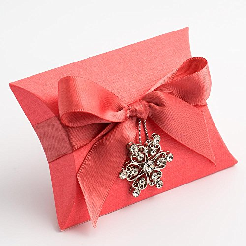 Coral wedding decorations amazon 10 coral silk bustina 70x70x25mm wedding favours boxes junglespirit Gallery