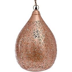 Emporio artes Emporio luces marroquí hecha a mano exótico estilo lámpara colgante globo en Hexa grabado, hierro, Cobre, E27, 40W