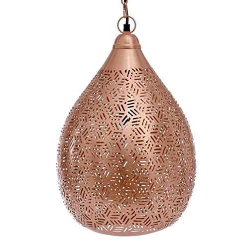 Emporio Arts EMPORIO Lumières marocain fait main style exotique Lampe à suspension Ballon en Hexa Etching, fer, cuivre, E27, 40 Watts
