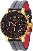 DETOMASO Firenze Men's Quartz Watch with Black Dial Chronograph Display and Black Leather Bracelet Sl1624C-Gd