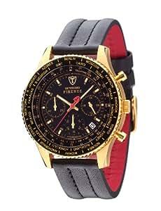 DETOMASO Men's Firenze Quartz Watch with Black Dial Chronograph Display and Black Leather Bracelet SL1624C-GD
