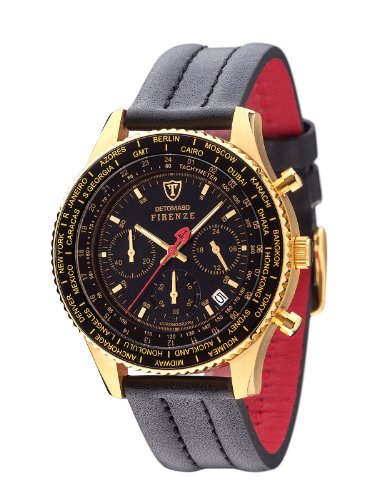 DETOMASO FIRENZE Herren-Armbanduhr Chronograph Analog Quarz schwarzes Lederarmband schwarzes Zifferblatt SL1624C-GD