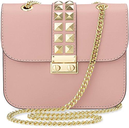 Chloe Handtasche Weiß (kleine originelle Damentasche Clutch - Tasche mit Nieten und Kettenriemen (puderrosa))