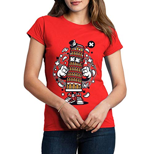 C192WCNTR Damen T-Shirt Pisa Tower Retro Leaning Bell Cathedral Tilt Attraction Roman Italy Tourist Classic(Large,Red)