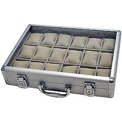 Alu Uhrenkoffer 18 Uhren Uhrenbox Schaukasten Uhrenkasten GRAU 4737