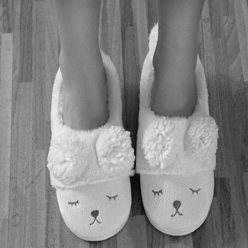 AIZHE  Sheep Slippers,  Damen Mädchen Flache Hausschuhe Grau