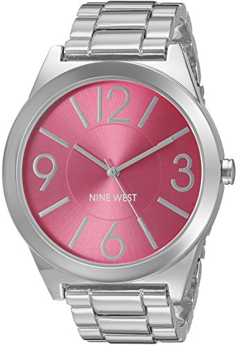 Nine West Damen-Armbanduhr Analog Quarz Edelstahl NW-1585PKSB (Nine West Damen Uhren)