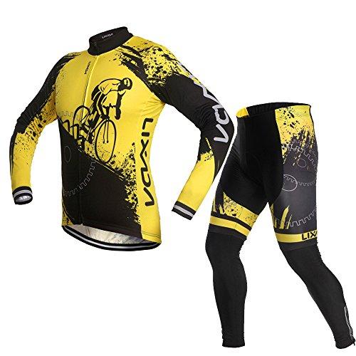 Lixada Unisexo Conjunto de Ropa Ciclismo, Maillots Jersey de Bicicleta de Manga Larga + Pantalones Acolchados, Cómodo Respirable Secado Rápido