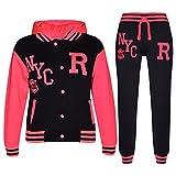 A2Z 4 Kids® Kinder Mädchen Jungen Baseball Trainingsanzug NYC FOX Jacke & Hose - T.S Baseball NYC Black & Neon Pink 13